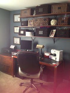 Office organization. I love wicker baskets.