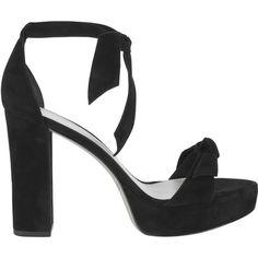 Clarita Stack Heel Platform Sandals (€505) ❤ liked on Polyvore featuring shoes, sandals, black, black suede sandals, black strap sandals, black platform shoes, platform shoes and open toe sandals
