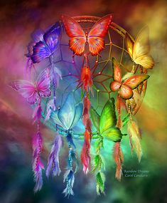 Rainbow Dreams by Carol Cavalaris. Prints available at Fine Art America. This painting of a rainbow colored dream catcher filled with matching butterflies, in all the healing colors of the Chakras, is from the Dream Catcher and Healing collections of art by Carol Cavalaris.