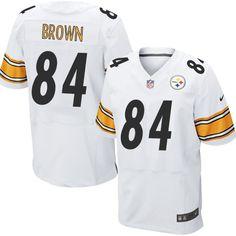 $24.99 Nike Elite Antonio Brown White Men's Jersey - Pittsburgh Steelers #84 NFL Road