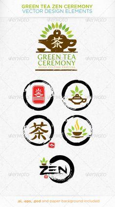Green Tea Zen Ceremony Vector Design Elements