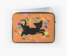 I Love Halloween! (without text) Laptop Sleeve #cats #blackcat #candy #halloween #trickortreat