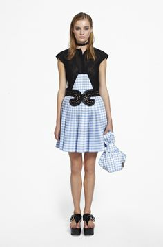 CARVEN, summer 2014. Black and blue gingham patterned pleated dress