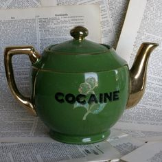 Green and Gold Cocaine Teapot by geekdetails on Etsy, $38.00    http://www.etsy.com/listing/121120394/green-and-gold-cocaine-teapot?ref=sr_gallery_10_search_query=green+teapot_view_type=gallery_ship_to=US_page=6_search_type=all