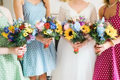 April and James' wedding was colourful and retro inspired with lots of fun details. The bride wore a dress by Kitty and Dulcie and veil from Rock n Roll Bride x Crown and Glory. East Yorkshire, Brooch Bouquets, Bridesmaid Dresses, Wedding Dresses, Floral Crown, Corsage, Kitty, Bridal, Retro