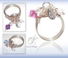 CTR Charm Ring, Custom, Sterling Silver, Swarovski Crystal. $25.00, via Etsy.