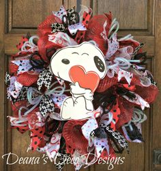 Valentine wreath, Valentine love my dog wreath, Valentine deco  mesh wreath, Valentine red, white, black wreath, Valentine heart wreath by DeanasDecoDesigns on Etsy