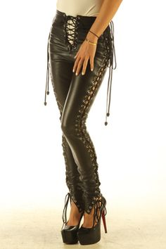 7684b80575c Genuine Leather Leggings with laces Leather T Shirt