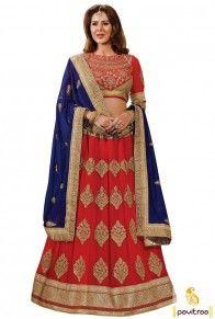 Red Cobalt Blue Georgette Designer Lehenga Choli Online Discount