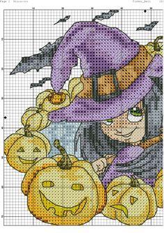 Witch + jacks 1 of 2 Cross Stitch Fairy, Cute Cross Stitch, Cross Stitch Charts, Disney Stitch, Needlepoint Patterns, Cross Stitch Patterns, Graph Crochet, Cross Quilt, Halloween Cross Stitches