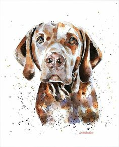 This print is from an Original painting by Eddie Kagimu MATERIALS: quality heavy-weight cotton mould printing paper The Print is signed by the Artist Vizsla, Weimaraner, Illustrations, Illustration Art, Animal Sketches, Dog Portraits, Banksy, Animal Paintings, Dog Art