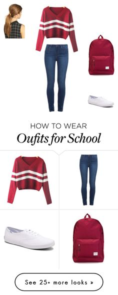 """Fall School Look"" by nalissa on Polyvore featuring Mode, Paige Denim, Keds, Herschel Supply Co. und Ficcare"