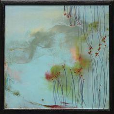 "Mel Rea | Petite Fleurs #5 | encaustic mixed media on panel, 16""x16"" /sm"