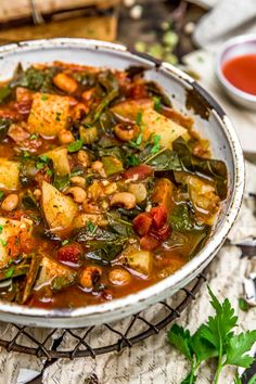 Incredible flavor and comforting goodness, this Southern Collard Green Potato Stew is brimming with wholesome ingredients in a flavorful, smoky broth. #vegan #oilfree #glutenfree #plantbased | monkeyandmekitchenadventures.com