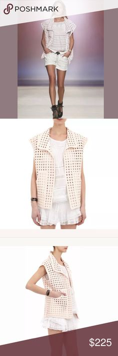 $1,235 RUNWAY Isabel Marant Blush Pink Vest  (S/M) 100% cotton Made in India Woven fabric with cut out detail throughout Open front Side slit pockets Oversized Fit Tag Size:  FR38 (US 6) Retail;  $1235.00 Isabel Marant Jackets & Coats Vests