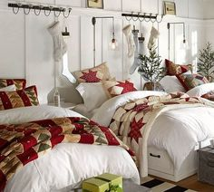 I really like this idea...white comforters and white walls. Change the accents with every season.