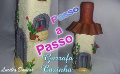 DIY-♥Garrafa Casinha Florida de Biscuit - ♥Lú Passo a Passo