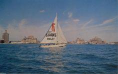 Vintage Atlantic City NJ Postcard Captain Starns Inlet Sailboat Beach Hotels