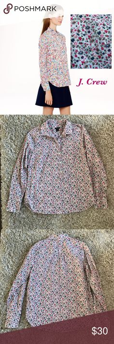 J. Crew Factory Printed Popover Button Down Pretty and cozy! Would layer well! Gently used, in excellent condition with no stains, holes or rips! All of my items come from a clean, smoke-free home! Check my closet for more items and save when you bundle! Please let me know if you have any questions! J. Crew Factory Tops Button Down Shirts