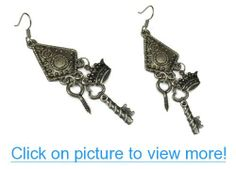 Steampunk Dangle Earrings Accented with Key, Screw, and Crown #Steampunk #Dangle #Earrings #Accented #Key #Screw #Crown