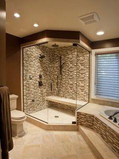 home decor interior design decoration image picture photo bathroom interior design house design design and decoration de casas design Modern Master Bathroom, Master Shower, Modern Bathrooms, Small Bathrooms, Master Baths, Master Bathrooms, Huge Shower, Tuscan Bathroom, Double Shower