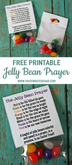 Jelly Bean Prayer Free Printable Bag Topper.  Create these Easter Treats easily with my Free Jelly Bean Prayer Printable.   via @cspangenberg