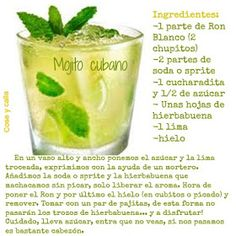 Bar Drinks, Cocktail Drinks, Yummy Drinks, Cocktail Recipes, Alcoholic Drinks, Mojito Recipe, Winter Cocktails, Cuban Recipes, Tapas