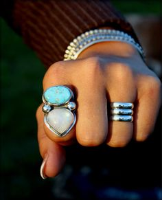 Turquoise Moonstone Statement Ring, Blue Bird Turquoise, Handmade Jewelry, Size 8