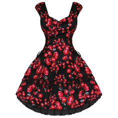 NEW LADIES BLACK RED FLORAL RETRO VINTAGE 50S SWING PARTY PROM TEA DRESS