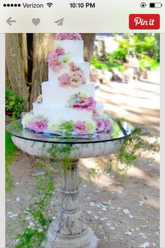 Cake stand for an outdoor wedding from an old bird bath