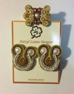 Soutache earrings & ring. White pearls, yellow Austriac crystals and strass crystals. Handmade
