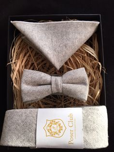 ** premium listing **  Tie, Bow Tie and Pocket Square 'Mountain Wolf' Trio Set - 100% Wool - £35.99 (use code DADDY20 for 20% off this price!)  http://poserclub.patternbyetsy.com  What do I get? - You will receive a brand new trio set which comes with official Poser Club Tags - Perfectly packaged - all of our sets come with the Poser Club designed Gift Box which is great for storage  #wool #wooltie #woolbowtie #wedding #groom #groomemen #bestman