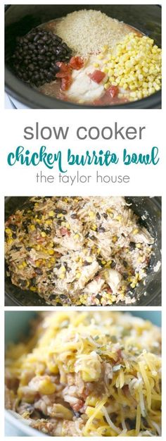Slow Cooker Chicken Burrito Bowl that's easy to make and delicious to eat! I love that this can be a healthy meal option or I can add sour cream and extra cheese when I want to splurge!