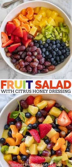 Easy Fruit Salad is the PERFECT dessert, with a combo of berries, citrus fruit, kiwi, and grapes in a sweet sauce made from juice and honey and topped with fresh mint leaves fruit fruitsalad sala is - Summer Salads With Fruit, Fresh Fruit Salad, Fruit Salad Recipes, Fruit Snacks, Kids Fruit, Fresh Fruit Desserts, Recipes With Fresh Fruit, Berry Fruit Salads, Juice Recipes