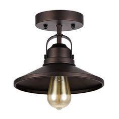 $79.99 Height from Fixture to Ceiling6.5 '' This 1-light semi-flush mount fixture features an oil rubbed bronze finish that will complement many urban, loft, industrial and transitional decors. The matching metal shade has a contrasting gold inside that will create a warm glow to any space. A 60-watt vintage Edison bulb is included.