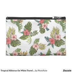 Tropical Hibiscus On White Travel Accessory Bag
