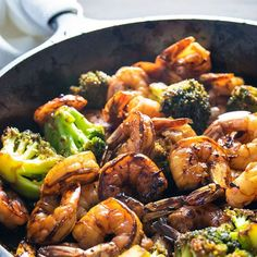 Browned honey garlic shrimp with tender broccoli – a super easy dinner that packs a wallop of flavor