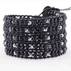 Silver & Black Pearl wrap bracelet | Victoria Emerson
