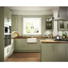 Olive green kitchen cabinets modern Ideas for 2020 Green Kitchen Cabinets, Kitchen Cabinet Colors, Painting Kitchen Cabinets, Kitchen Paint, Kitchen Colors, Grey Cabinets, Kitchen Island, Kitchen Appliances, Shabby Chic Kitchen
