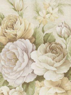 Soft Brown Rosabella Floral Wallpaper