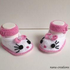Chaussons chat babies bébé laine tricotés main, naissance à 3 mois, blanc et rose bonbon.@nana-creations
