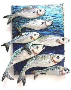 Shoal of Fish || Beautifully unique ceramic art from Diana Tonnison|| Designed to give the authentic feel of shimmering fish in their groups || Made for wall placement || || Price On Enquiry || #CERAMICS #ART #FISH