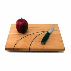 Hard Maple Cutting Board with Inlaid Walnut | GrandPrairieWoodworks - Woodworking on ArtFire