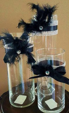 Wedding Centerpiece Vase Set! Great Gatsby! Winter Wonderland! Feathers and Ribbon! Party Bridal Gatsby Wedding Decorations, Great Gatsby Themed Wedding, Wedding Vase Centerpieces, Masquerade Centerpieces, Masquerade Theme, Centerpiece Ideas, Black And Gold Centerpieces, Centerpiece Flowers, Balloon Centerpieces