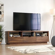 Your family will love the Harvey Park Entertainment Credenza Grand Walnut by Sauder Woodworking. Best prices in Entertainment Centers & TV Stands anywhere - anytime! Sauder, Living Room Furniture, Home, Tv Cabinets, Flat Panel Tv, Living Room Tv Stand, Entertainment Credenza, Modern Entertainment Center, Mid Century Modern Tv Stand