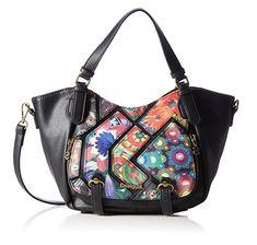 #Desigual Tasche - Modell Rotterdam Indiana, Muster: floral, ethnisch und Mandala, schwarz.