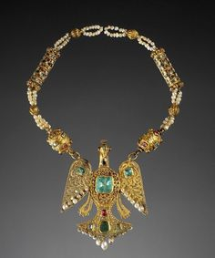 Necklace | Gold, precious stones, pearls and enamel necklace.  Fez, Morocco.