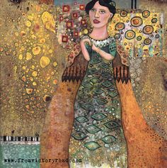 Klimt style portrait in mixed media using Citra Solv altered papers - A Woman in Gold