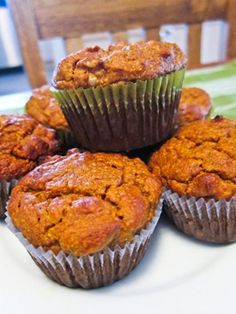 paleo pumpkin-walnut muffins via carrots n' cake.  Left out walnuts, added vanilla and a 1/4 cup of coconut oil and an 1/8 cup more almond flour. Then I mixed in bits of dried pear into half before baking them and chocolate chips into the other half. Yum!!