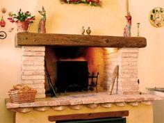caminetto a legna rustico mattoni
